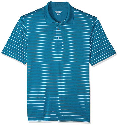 (Amazon Essentials Men's Regular-Fit Quick-Dry Golf Polo Shirt, Dark Teal Stripe, Small)
