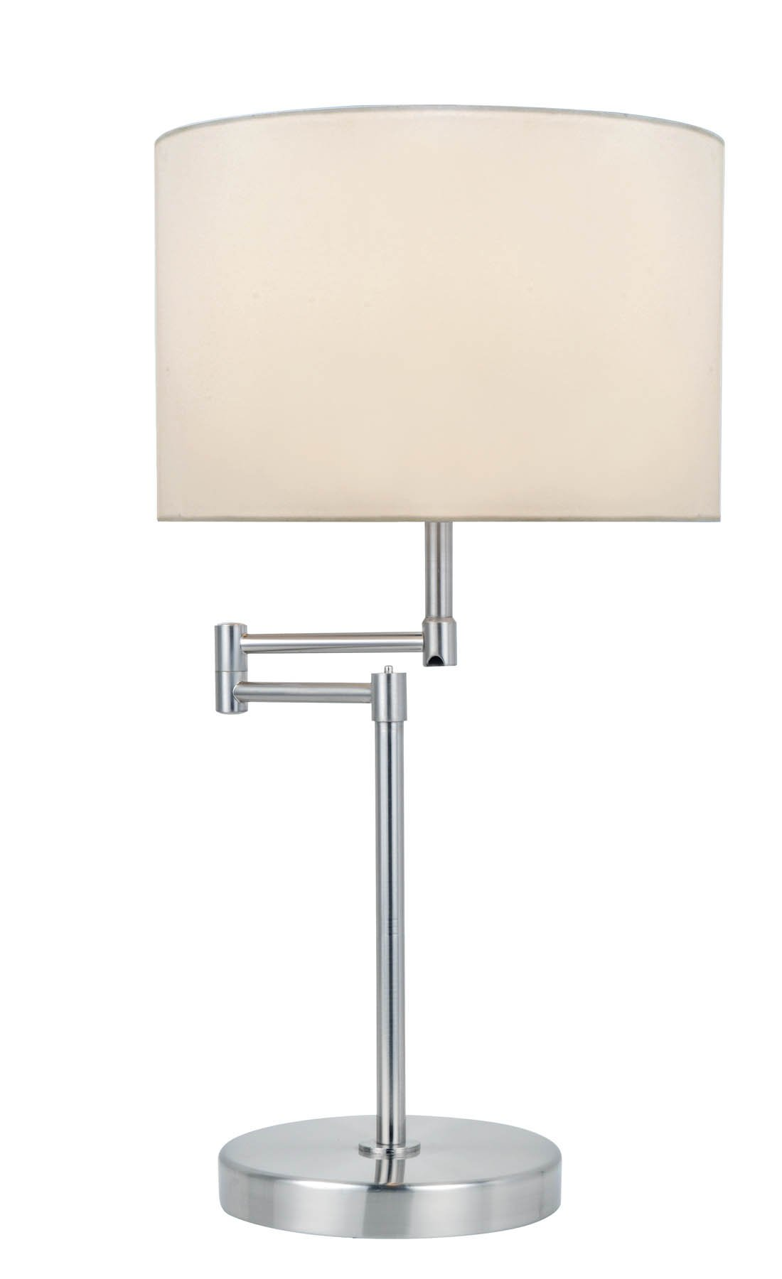 Lite Source LS-22215PS/WHT Durango Table Lamp with Swing Arm, 19'' x 12'' x 22'', Polished Steel Finish/White Fabric Shade