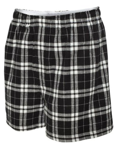 Boxercraft Men's Flannel Boxers with Covered Waistband, Medium, Black/White ()