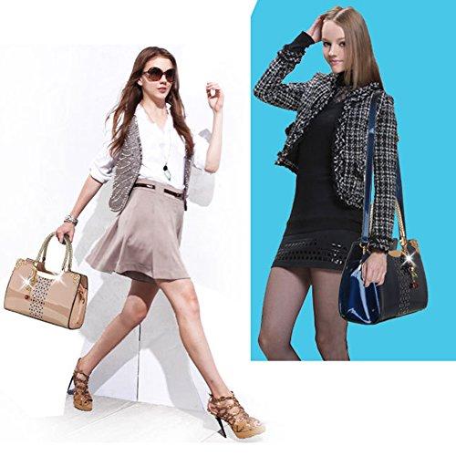 (G-AVERIL) 2018 Nappe semplice moda borsa di massa, Moda Delle Ragazze Donne Nappe in Pelle Borsa Bella Spesa Spalla Della Borsa Del Tote Blu scuro