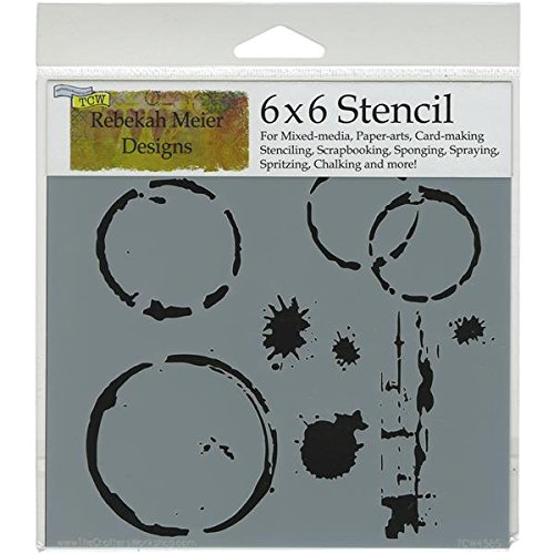 CRAFTERS WORKSHOP Template, 6 by 6-Inch, Coffee Splotch TCW6X6-458