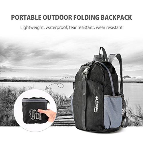 Packable Backpack, 20L Foldable Backpack Waterproof Lightweight For Kids Men Women Picnic Holiday or Multipurpose (Black)