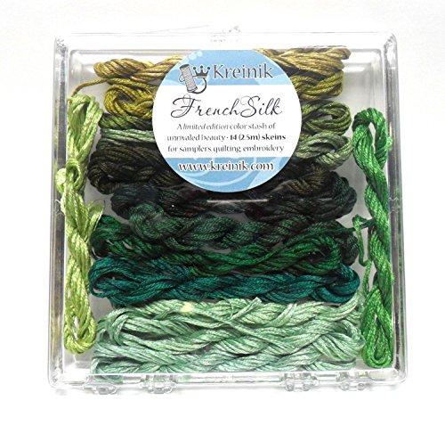(Kreinik French Silk Set for Needlecrafts ~ Green 14 Skeins 2.5 m of each #4203 )