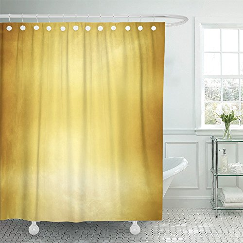Emvency Shower Curtain Waterproof Abstract Gold Luxury Christmas Holiday Wedding Brown Bright Spotlight Smooth Polyester Fabric 72 x 72 Inches Set with Hooks