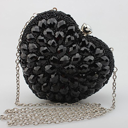 Evening Rhinestones shaped Heart Bag Crystals Black Moogr Womens AzqItpnX