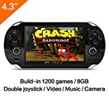 CZT 4.3 Inch 8GB Handheld Game Console 32Bit Video Game Console Built-in 1200+ non-repetitive games Support NES/SNES/GB/GBC/GBA/SMC/SMD/SEGA Games MP3 MP5 Player Support Ebook Camera Recording (Black)