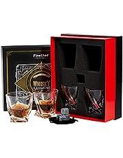 Finether 4 Bicchieri da Whisky in Cristallo con 4 Pietre di Granito Riutilizzabili, 340ML Bicchieri da Vino/Set di Whisky Stones Senza Piombo per Whisky, Cocktail,Bourbon,Succo, Regalo per Uomo