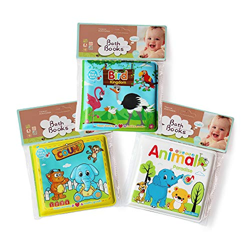 JUNSEE Baby Bath Books-3PCS,Bathtub Toys Floating Waterproof Educational Bath Toy Books for Toddlers-Animal Books,Count Books,Bird Books for Bath time