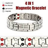LuckyFine Magnetic Sports Power Energy Balance Bracelet 4 in 1 Bio Magnetic Germanium Healthy Bracelet for Men
