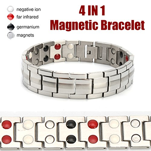 LuckyFine Magnetic Sports Power Energy Balance Bracelet 4 in 1 Bio Magnetic Germanium Healthy Bracelet for Men by LuckyFine