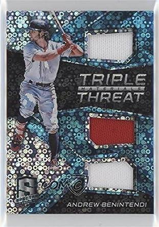 Amazon.com: Andrew Benintendi #79/99 (Baseball Card) 2017 Panini Chronicles - Spectra Triple Threat Materials - Neon Blue #TTM-AB: Collectibles & Fine Art
