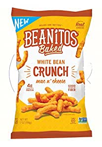 Beanitos Baked Crunch Mac n' Cheese, The Healthy, High Protein, Gluten free, and Low Carb Vegan Tortilla Chip Snack, 7 Ounce (Pack of 6)