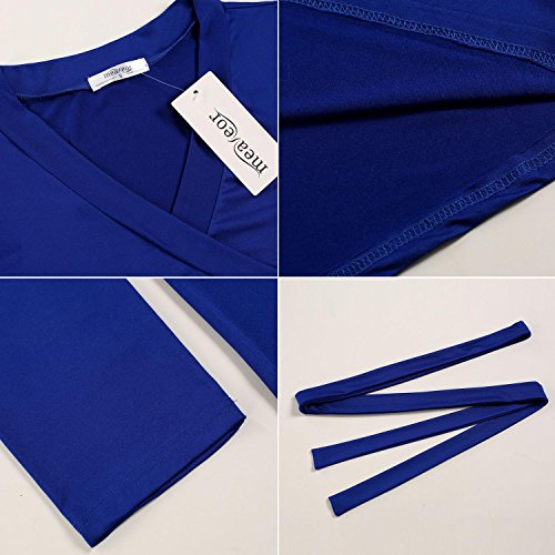 Corta Tunica Eleganti Larghi Plus Size V Dress Lungo Collo Casual QENCI Blu Sciolto Lunghi Manica Maxi Donna Vestiti Abito Tasca wxfnCqYSt