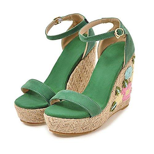 ZHZNVX Zapatos de mujer Cuero de Nubuck primavera,verano Novedad/Comfort sandalias de tacón de cuña peep toe hebilla para Office,Carrera/Parte,noche Green