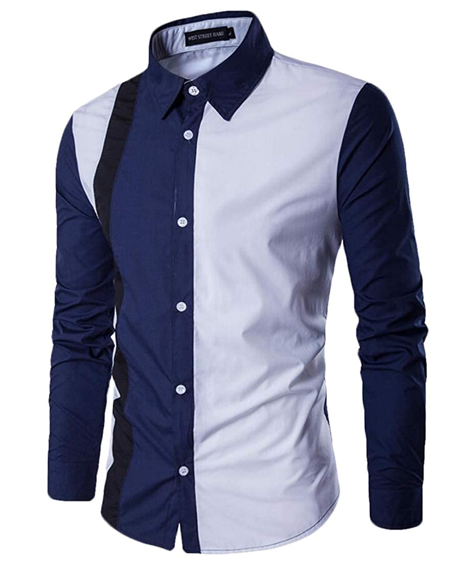 WSPLYSPJY Mens Casual Long Sleeve Button Down Contrast Color Block Pattern Shirt