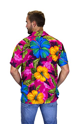 V.H.O Funky Hawaiian Blouse Women Short-Sleeve Front-Pocket Blanc Casual Multi Colors