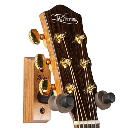 String Swing Guitar Wall Mount - Holder for Electric Acoustic and Bass Guitars - Stand Accessories Home or Studio Wall - Musical Instruments Safe - Cherry CC01-C USA MADE ()