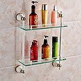 JinRou Unique design style European cosmetics baked white gold glass double shelves bathroom accessories