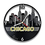 Cheap Chicago Skyline, US Big City, Homeland Souvenir, Skyscrapers and Buildings Handmade Design for Traveler, Vinyl Record Wall Clock By Handmade Solutions