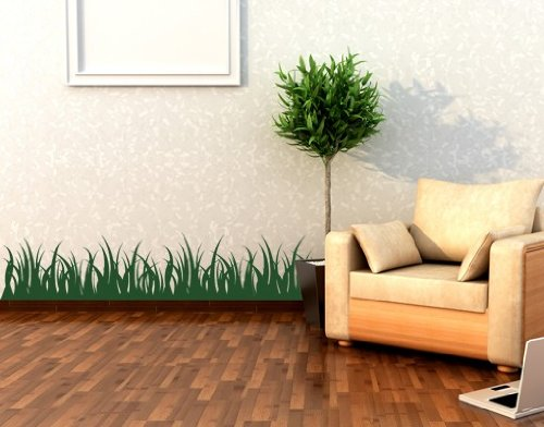 Grass Wall Decal by Style & Apply - Wall Sticker, Vinyl Wall Art, Home Decor, Wall Mural - 1962-0 - 35in x 7in, Dark ()