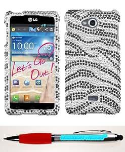 Accessory Factory(TM) Bundle (Phone Case, 2in1 Stylus Point Pen) LG MS870 (Spirit 4G) Black Zebra Skin Full Diamond Bling Protector Cover Stylish Design Snap On Hard Case Faceplate Shell