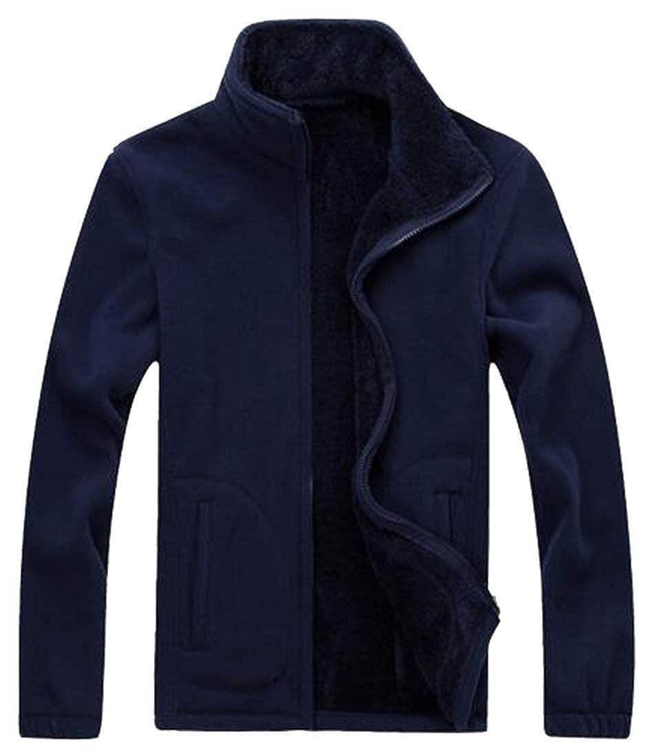 Bravepe Men Warm Fleece Full-Zip Fall /& Winter Solid Stand Collar Sweatshirt Jacket Coat Dark Blue L