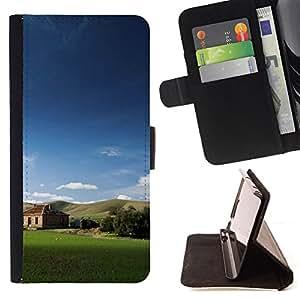 For Samsung Galaxy A3,S-type Naturaleza Campo Cabin- Dibujo PU billetera de cuero Funda Case Caso de la piel de la bolsa protectora