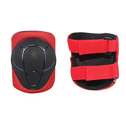 LANOVAGEAR Kids Adjustable Protective Gear Set Knee Elbow Pads Wrist Guards for Skateboard Bicycle Sports Safety (Red, Small) by LANOVAGEAR (Image #3)
