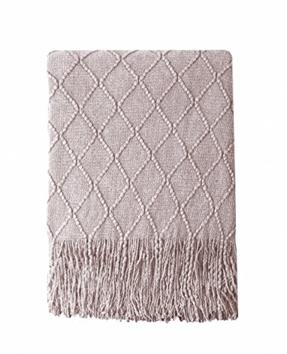 Bourina Decorative Purple Throw Blanket Textured Solid Soft for Sofa Couch Cozy Decorative Knitted Blanket, 50 x 60, Light Lavender.