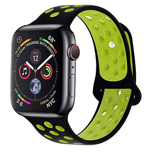 RUOQINI Compatible for Apple Watch 40MM, Dual-Color Soft Silicone Sport Replacement Band Compatible for Apple Watch Series 4 (M/L Size in Black/Volt Color)