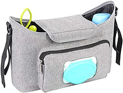 Universal Organiser Bag for Travel, Grey accessories bag, Nappy Bag, Easy Access Wipe dispenser, Storage for accessories, Electronics, Nappies & bottles/ Clothes, Toys