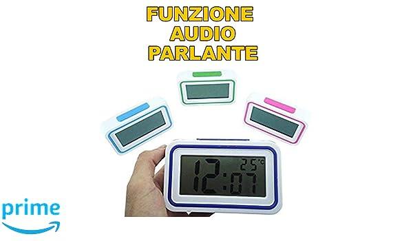 TrAdE shop Traesio- Reloj Despertador Digital con Audio parlante de Italiano para deficiencia auditiva: Amazon.es: Electrónica
