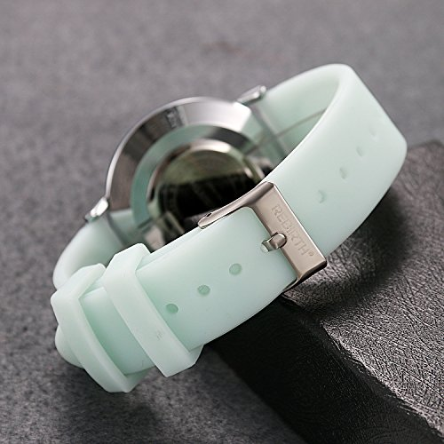 Ladies and Girls Jelly Green Scrub Silicone Band Round Face Quartz Youth Wrist Watch Gift for Women by Lancardo (Image #2)