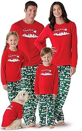 PajamaGram Night Before Christmas Matching Family Pajamas, Red, Women XSM (2-4)