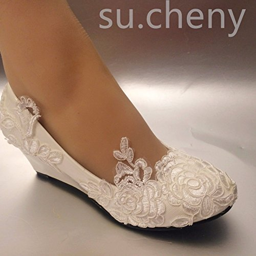 Blanco US 5 11 JINGXINSTORE cm Baja Cuñas Zapatos 11 Cordón Blanca 5 Boda Nupcial de Tamaño USfqd