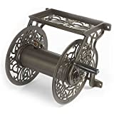 Liberty Garden Products Decorative Non-Rust Cast Aluminum Wall Mounted Garden Hose Reel with 125-Foot Capacity-Antique Finish 704