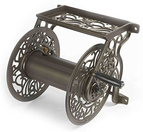Liberty Garden 704 Decorative Cast Aluminum Wall Mount Garden Hose Reel, Holds 125-Feet of 5/8-Inch Hose - Bronze (Best Wall Mounted Garden Hose Reel)
