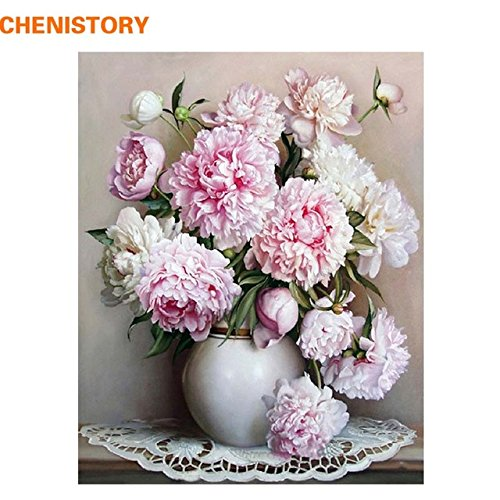 CHENISTORY Pink Europe Flower DIY Painting By Numbers Acrylic Paint By Numbers HandPainted Oil Painting On Canvas For Home Dcor (without Frame)