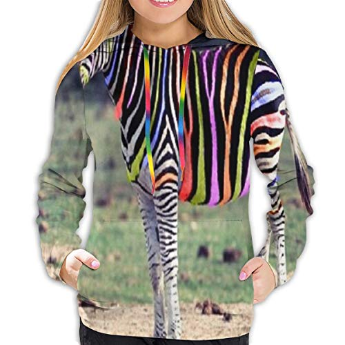 Women's Sweater Stripes Animals Zebra Marvellous Girl Casual Hooded Athletic Pullover