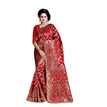 Eleglancekey Women's Banarasi Silk Red Party Wear Sarees With Unstitched Blouse Piece