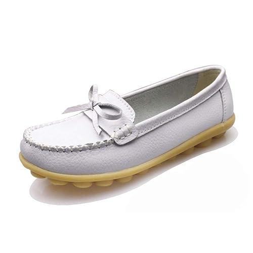 Mocasines De Plataforma Plana para Mujeres Zapatillas Sin Cordones Mocasines Flexibles Gamuza De Cerdo Punta Redonda Mariposa-Nudo Zapatos Informales: ...