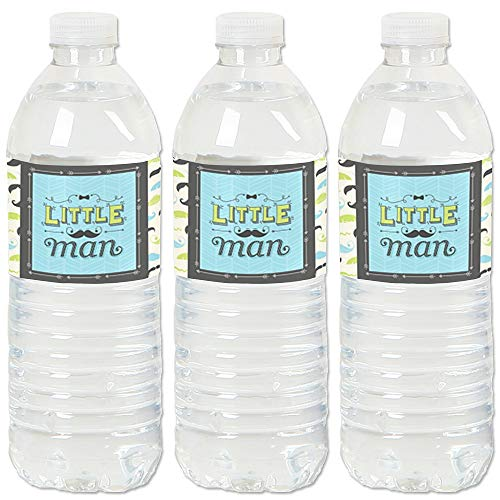 Dashing Little Man Mustache Party - Baby Shower or Birthday Party Water Bottle Sticker Labels - Set of ()