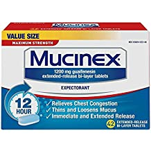 Mucinex 12 Hour Maximum Strength Chest Congestion Expectorant Tablets, 42ct, 1200mg Guaifenesin with Extended Relief