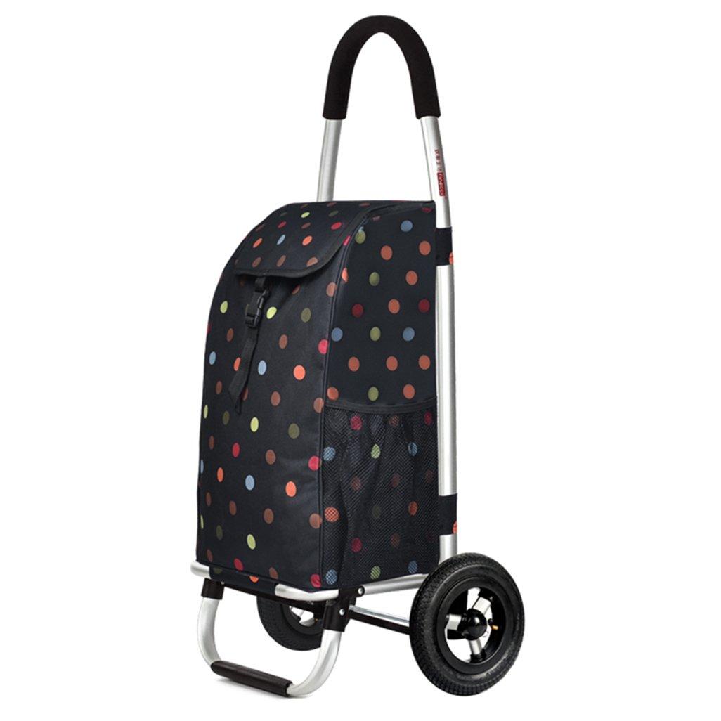 QING MEI ショッピングカート大容量アルミ合金軽量折り畳み旅行食料品カート2ゴムホイールオックスフォード布プッシュカート55L A+ B07JDDFG1K
