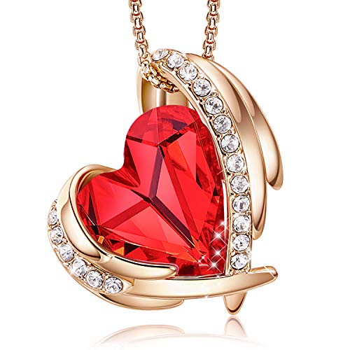CDE Necklace for Women Red Angel 18K Rose Gold Plated Pendant Necklace...