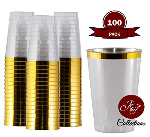 100 Gold Plastic Cups 12 oz - Gold Rim Disposable Cups | Elegant Fancy Wedding & Party Tumblers | Disposable Clear Plastic Cups ()