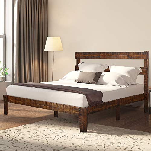 Ecos Living 12 Inch High Rustic Solid Wood Platform Bed Frame with Headboard/No Box Spring/No Squeak, Distressed Finish, Full
