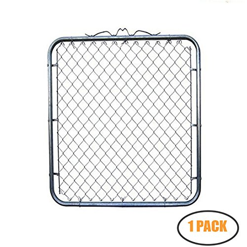 MTB Galvanized Chain Link Garden Walking Fence Gate 50-inch Overall Height by 42-inch Frame Width (Fit a 46-inch Opening), 1 Pack ()