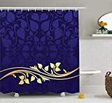 """Ambesonne Floral Shower Curtain, Romantic Royal Leaf Pattern with Yellow Colored Floral Branch with Leaves, Cloth Fabric Bathroom Decor Set with Hooks, 75"""" Long, Indigo Purple"""