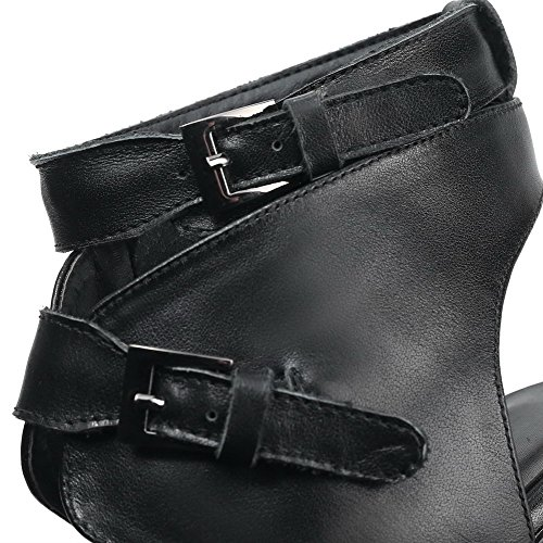 Toe AmoonyFashion Buckle High Cow Solid Open Sandals Heels Womens Black Leather 11fSB